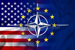 Waving Nato, EU and USA Flag